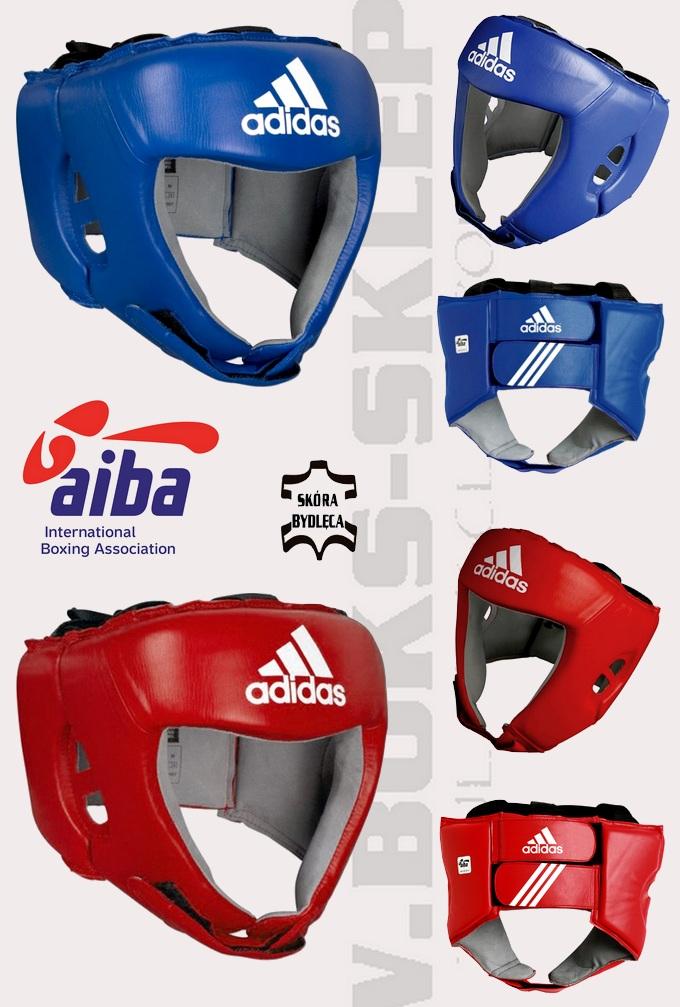Kask bokserski Adidas AIBA skóra naturalna
