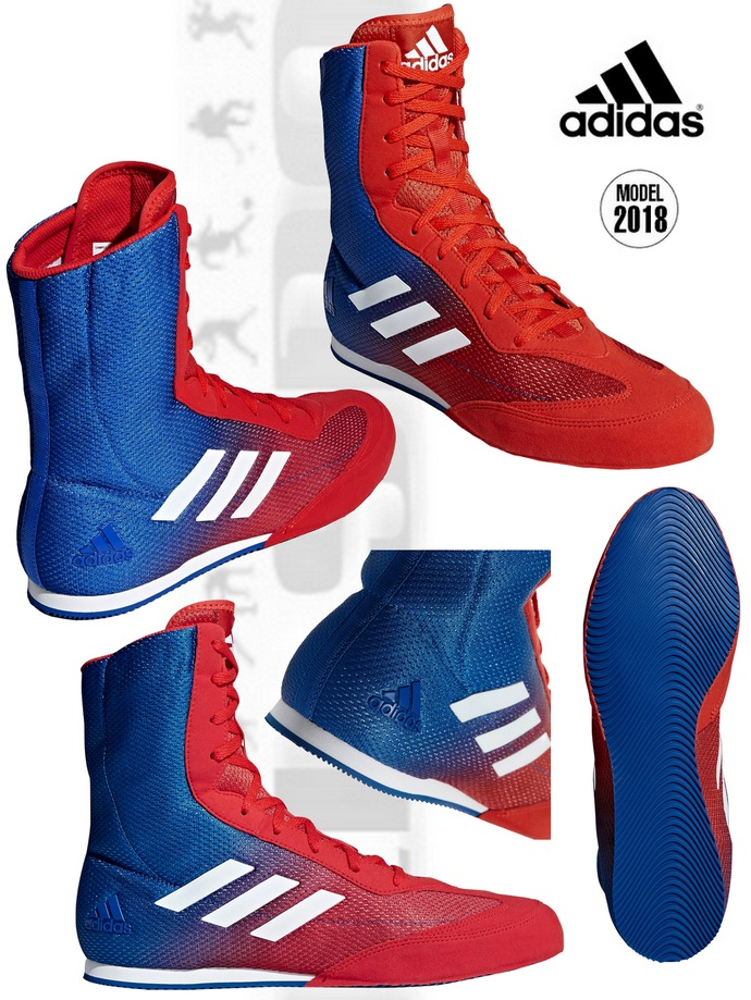 Buty bokserskie niebiesko-czerwone dwu kolorowe Adidas Box Hog 2 model DA9896