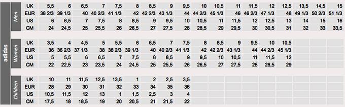 Tabela obuwia Adidas