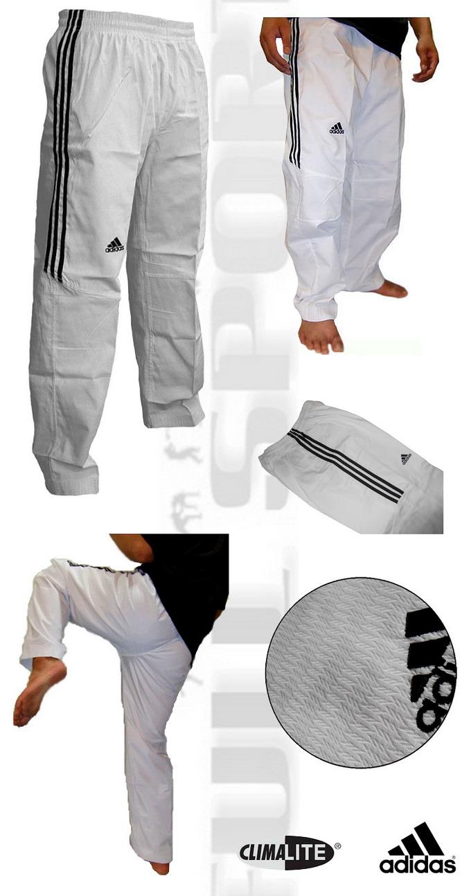 Spodnie do sportów walki białe wytrzymałe Adidas TKD