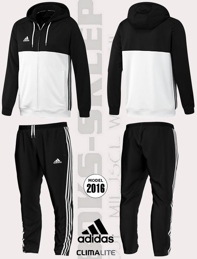 zaoszczędź do 80% najnowszy projekt kupować Męski dres treningowy ADIDAS T16 - czarno-biały