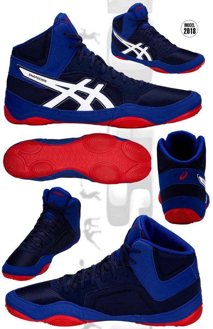 Buty zapaśnicze Asics Snapdown 2 Niebieskie z czerwoną podeszwą
