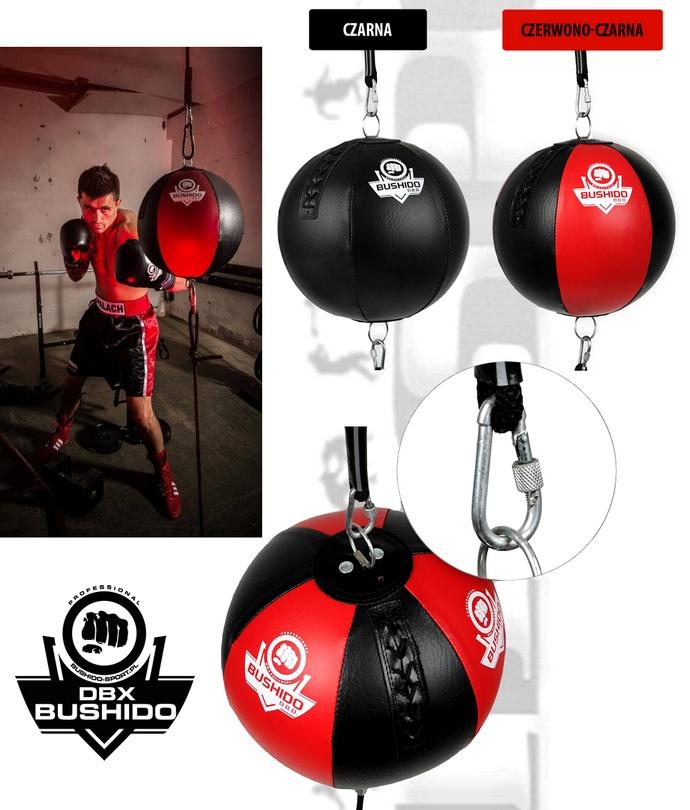 Piłka refleksowa okrągła DBX Bushido czarna lub czarno-czerwona na gumach