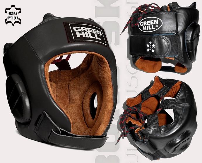 Kask bokserski turniejowy Green Hill FIVE STAR BLACK HGF-4013- leather