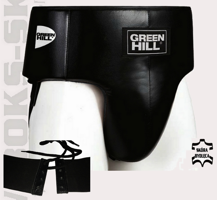 Suspensor bokserski Green Hill GGP-6040 skórzany, ochraniacz bokserski krocza skórzany Green Hill