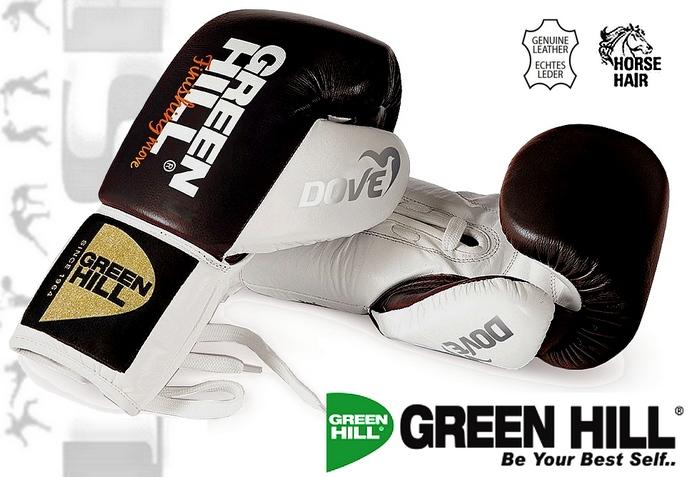Rękawie bokserskie Green Hill Dove wiązane z włosiem końskim BGD-2050B biało-czarne