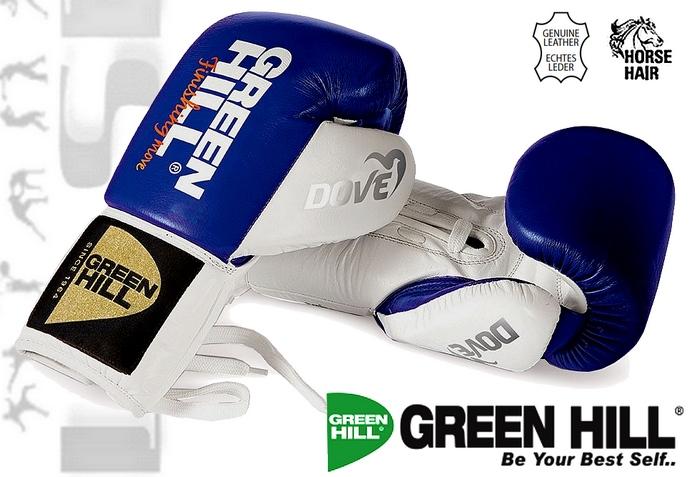 Rękawice wiązane do boksu zawodowego Green Hill DOVE włosie końckie BGD-2050B