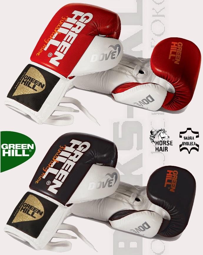 Profesjonalne rękawice bokserskie sznurowane Green Hill Dove BGD-2050B kolekcja 2016