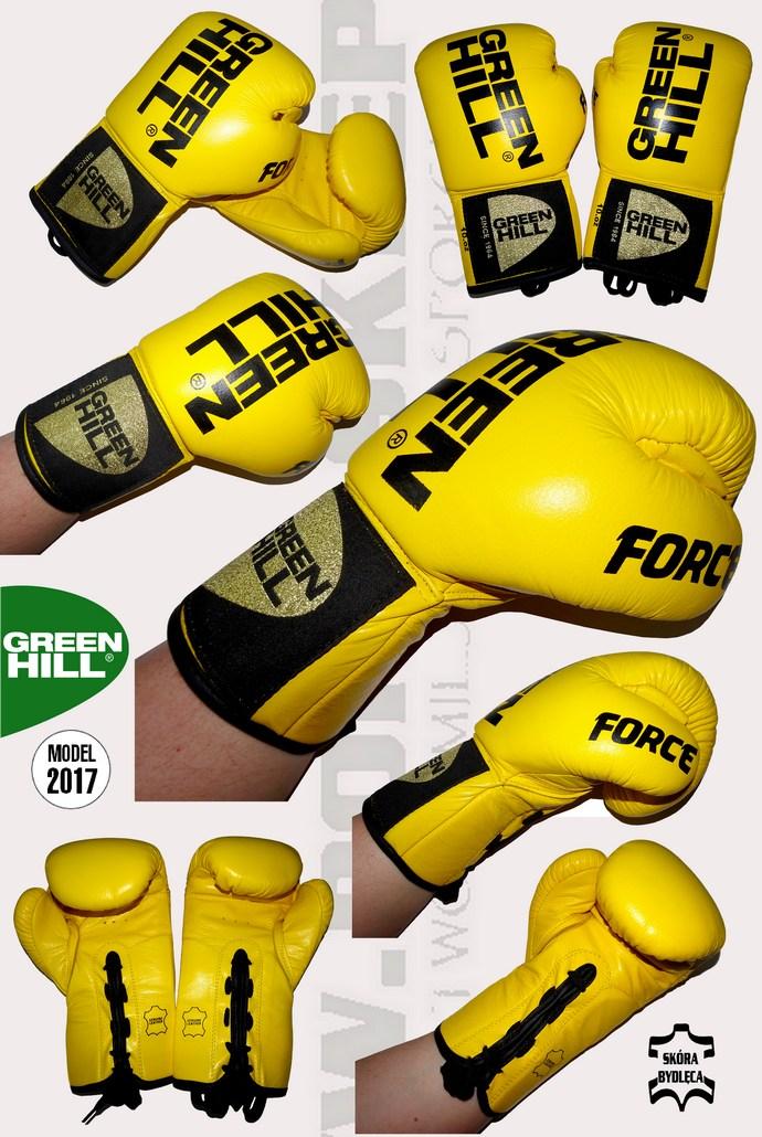 Rękawice bokserskie wiązane żółte Green Hill Force BGF-2015