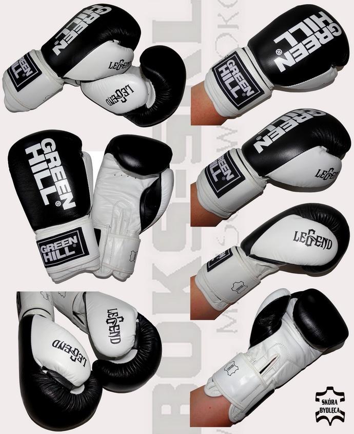 Rękawice bokserskie Green Hill Legend BGL-2246 czarno-białe skóra