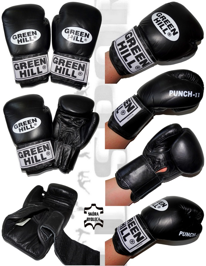 Rękawice bokserskie Green Hill Punch-2 BGP-2007 czarne 10oz skóra naturana