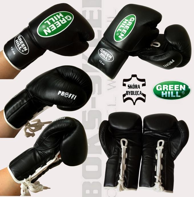 Rękawice wiązane czarne Green Hill Proffi 12oz, rękawice sznurowane skórzane