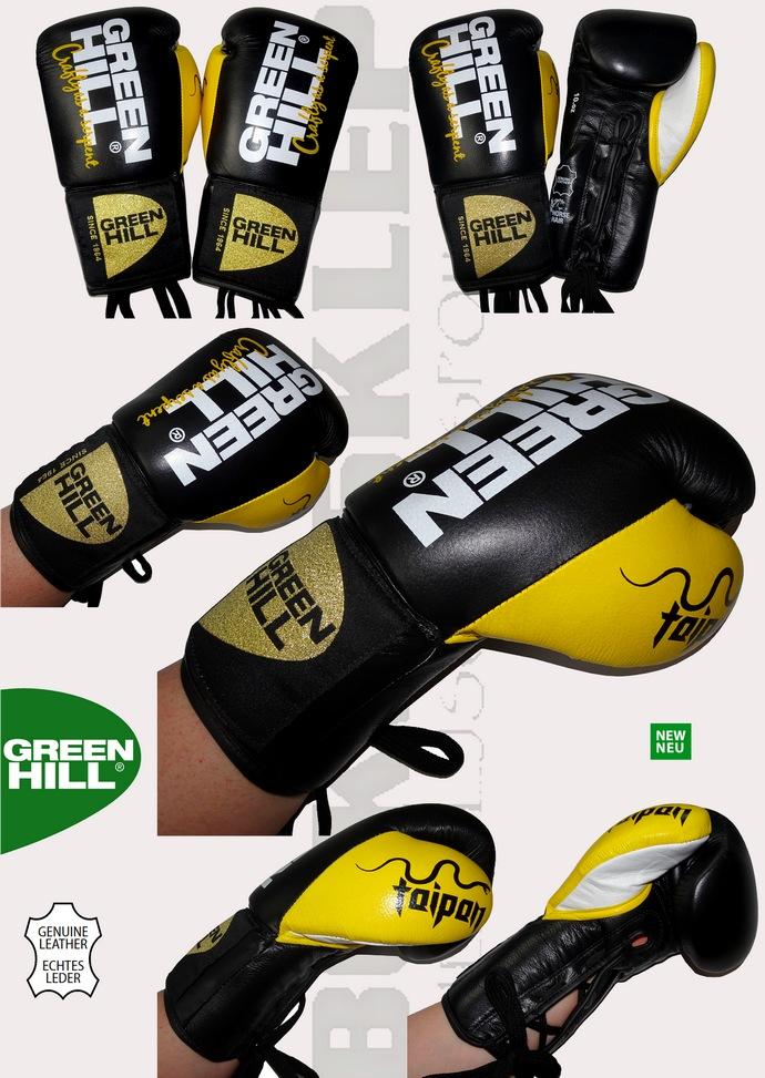 Profesjonalne rękawice bokserskie wiązane Green Hill Taipan Black-Yellow BGT-2252