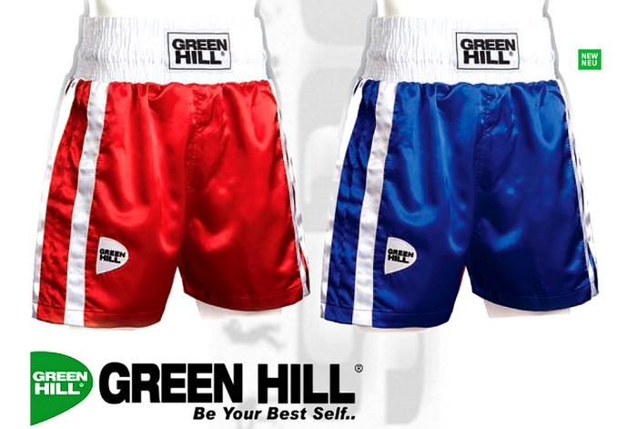 Spodenki bokserskie Green Hill Elite czerwone, niebieskie BSE-3570 Boxing shorts Elite Blue