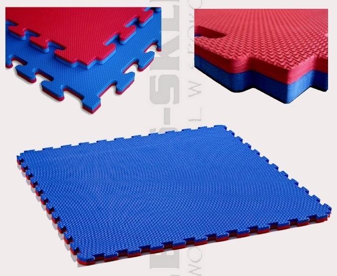 Mata puzzle dwu kolorowa czerowno-mibieska z pianki EVA