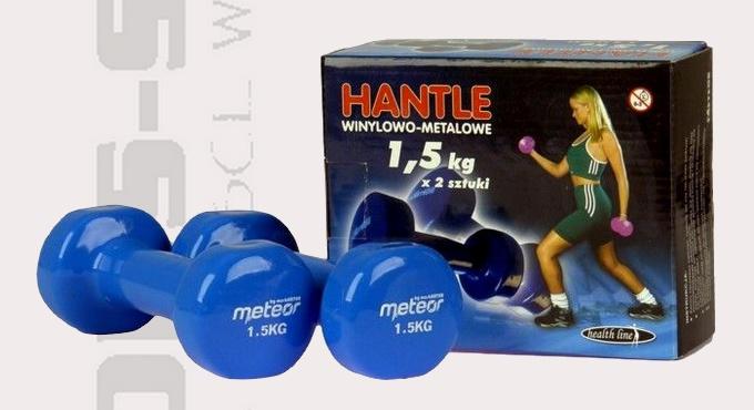 Hantle 1,5kg, hantle żeliwne winylowe Meteor 1634