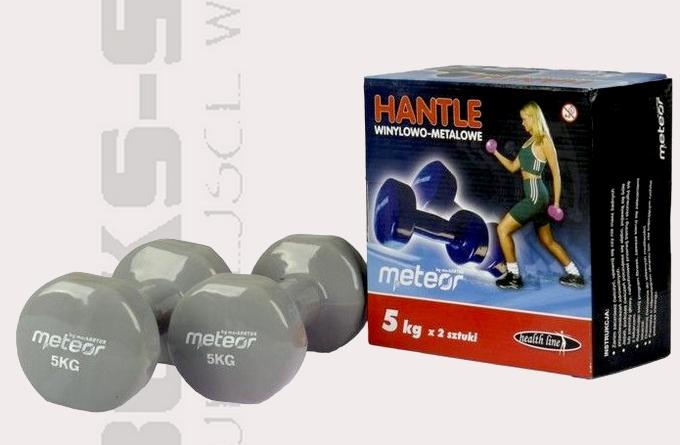Hantle 5kg, hantle winylowe Meteor 1638