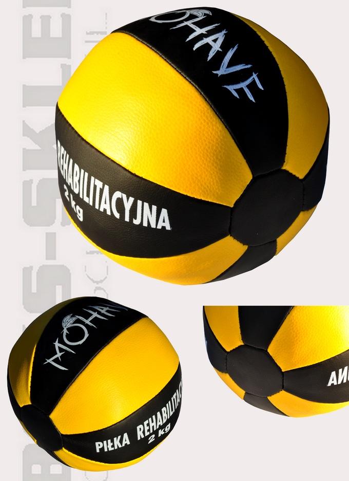 Piłka lekarska 2kg, piłka rehabilitacyjna Mohave czarno-żółta