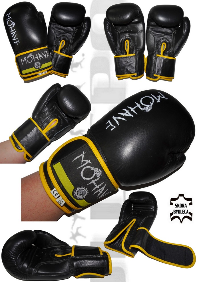 Rękawice bokserskie Mohave Shock skórzane czarne model 2017