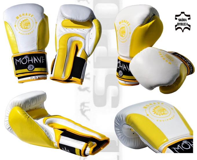 Rękawice bokserskie Mohave Lemon, rękawice skórzane biało-żółte, Boxing gloves Mohave Lemon leather white-yellow