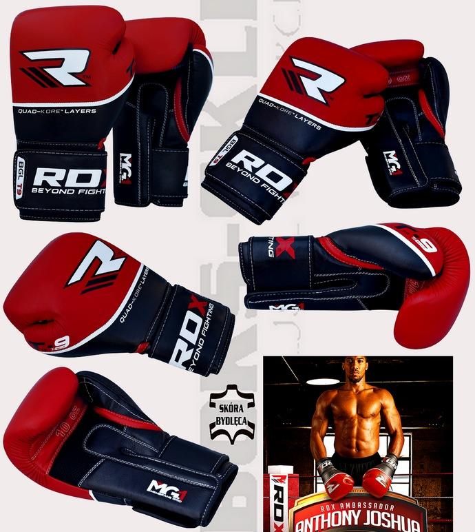 Rękawice bokserskie RDX BGL-T9 czerwono-czarne skórzane