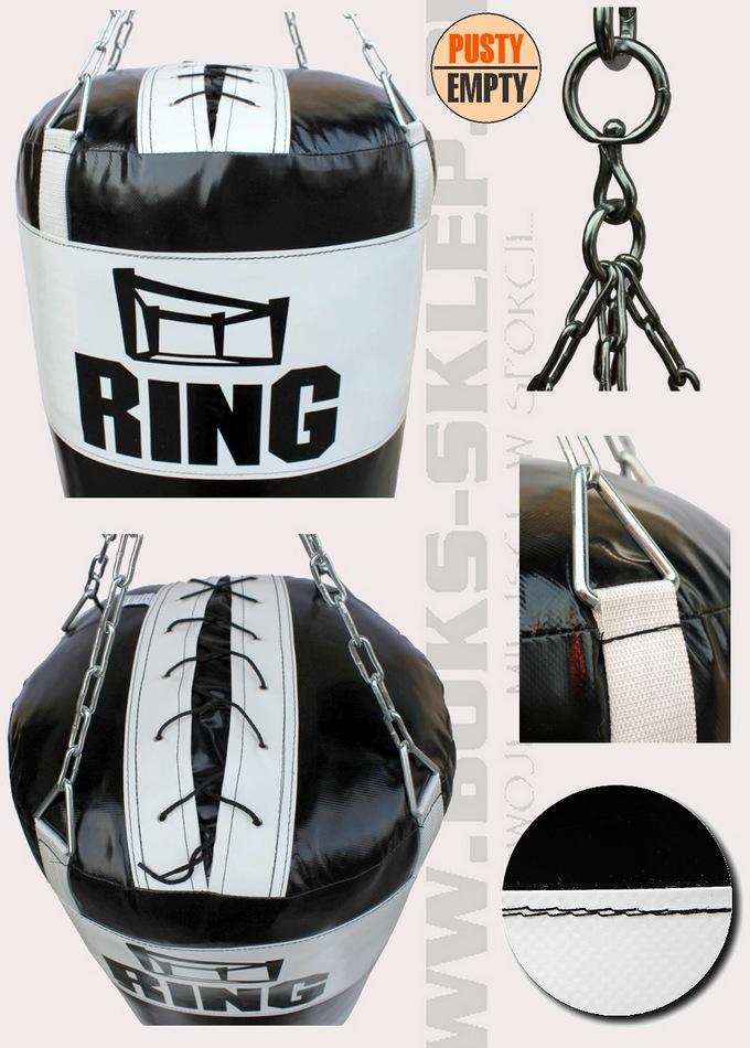 Worek bokserski czarno biały z plawilu bez wypełnienia.