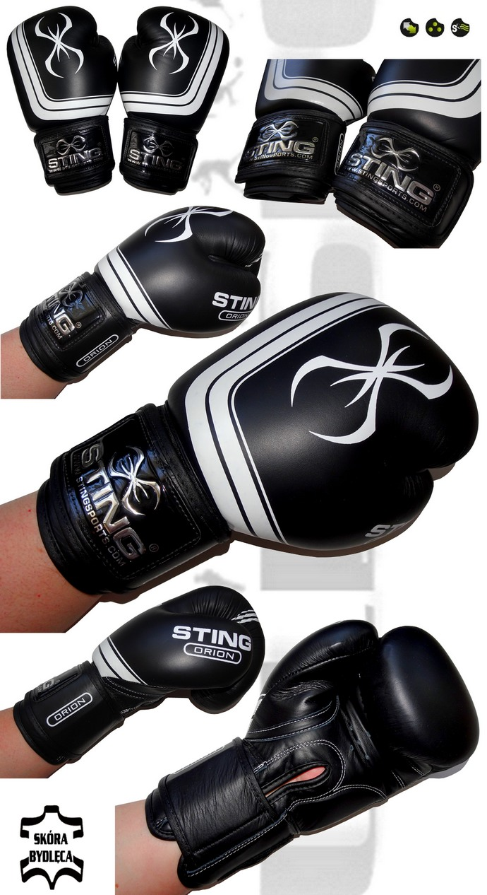 Rękawice bokserskie Sting Orion Black S11B-1101, Boxing Gloves Sting S11B-1101 Leather Black