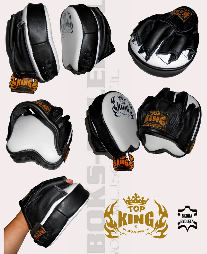Mini łapki bokserskie Top King Professional TKFMP super małe, Focus Mitt Top King White