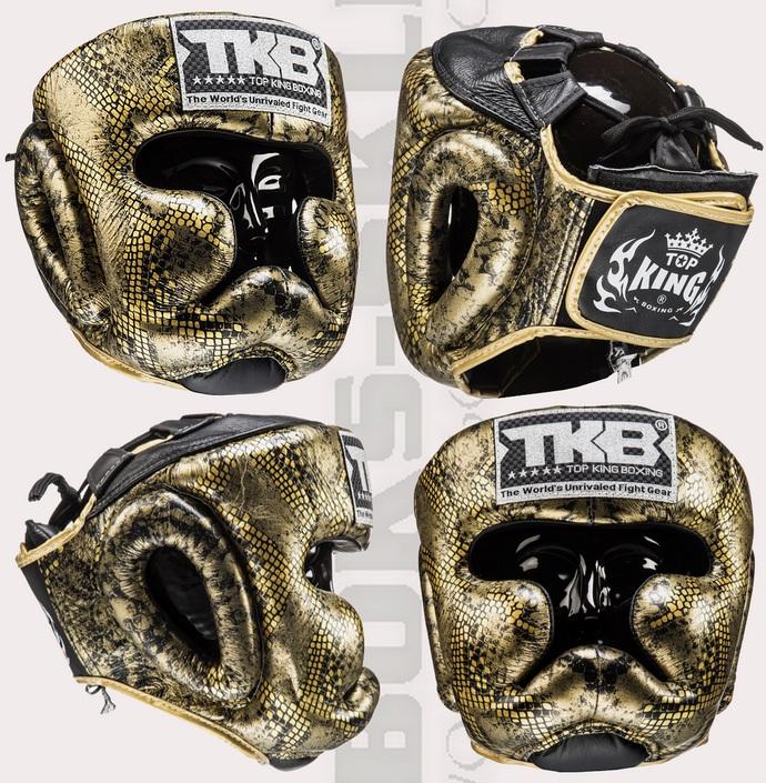 Kask bokserski sparingowy Top King Snake Gold TKHGSS-02BK-GD