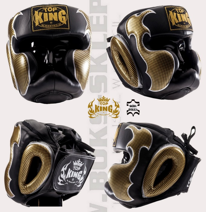 Kask bokserski sparingowy Top King Empower Creativity Glack TKHGEM-01GD Headgear Top King Cerativity Empower Black